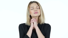 Young Woman praying , Asking forgiveness, White Background Stock Footage