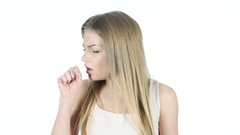 Coughing, Sick Woman Suffering From Cough, White Background Stock Footage