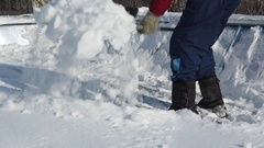 Works on cleaning of snow from a roof Stock Footage