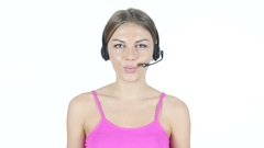 Talking Call Center Girl,  White Background Stock Footage