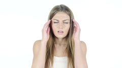 Headache, Frustration, Tension, Depressed Young Woman Stock Footage