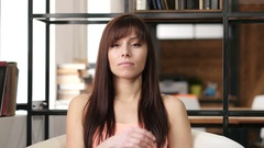 Thinking Young Woman, Indoor Office Stock Footage