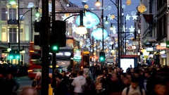 Christmas in London. Timelapse.Oxford Street Stock Footage