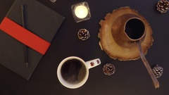 Top view hot coffee on the table with Christmas decoration table from above Stock Footage