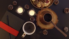 Top view steam from the hot coffee on the table with Christmas decoration Stock Footage