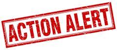 Action alert square stamp Stock Illustration