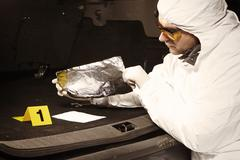 Collecting odor traces in car trunk Stock Photos