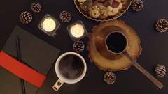 Top view woman photographing coffee table with Christmas decoration Stock Footage