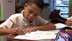 English lessons in the home work students Stock Footage