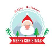 Santa Claus Christmas flat style logotype Stock Illustration