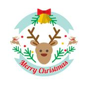 Christmass deer flat style vector logotype Stock Illustration