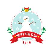 Snowman Christmas and New Year vector logo Stock Illustration