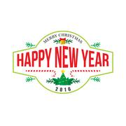 Happy new year logo banner Stock Illustration