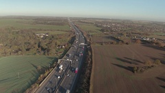 Motorway and Countryside Aerial View Stock Footage