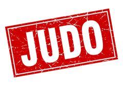 Judo square stamp Stock Illustration