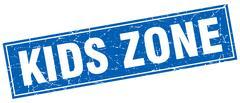 Kids zone square stamp Stock Illustration