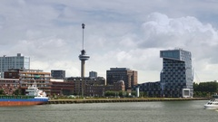 Maas river in Rotterdam Stock Footage