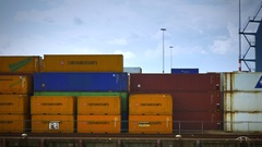 Containers in the harbour of Rotterdam Stock Footage