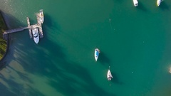 Top View of Boats in sea. Stock Footage