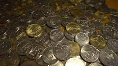 Russian rubles close-up, coins and paper HD Stock Footage