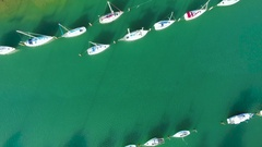 Bird eye view of Boats at stillwater. Stock Footage