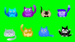 Musical cats on green screen Stock Illustration