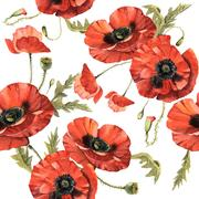 Wildflower poppy flower pattern in a watercolor style isolated Stock Illustration