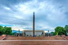Former kazakh parliament and freedom monument, Almaty Stock Photos