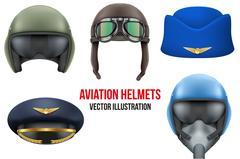 Set of Aviator Helmets and hats. Stock Illustration