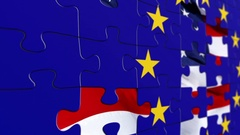 Eu and USA flag puzzle concept Stock Footage