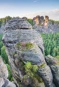 Rocks in the Elbe Sandstone Mountains Stock Photos