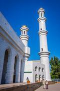 Minaret of Almaty central mosque, Kazakhstan Stock Photos