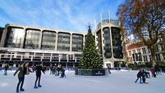 Ice rink next to Naturall History museum on a sunny day. Stock Footage