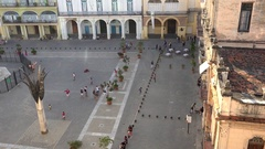Top view of the Plaza Vieja in the Old Havana (La Habana Vieja). Cuba Stock Footage