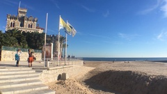 Castle At Beach In Estoril, Portugal Stock Footage