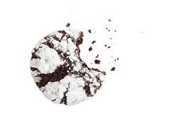 Bitten homemade chocolate crinkles cookies powdered sugar Stock Photos