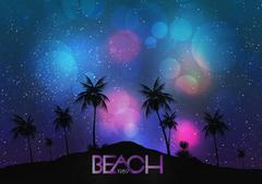 Beach Party Poster with Tropical Island and Palm Trees - Vector Illustration Stock Illustration
