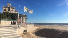 Medieval Styled Castle At Beach In Lisbon, Portugal Stock Footage