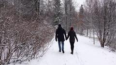 Couple walk along snow path, hold hands, nice winter park, POV follow Stock Footage