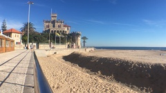 Castle At Beach of Tamariz In Estoril, Portugal Stock Footage