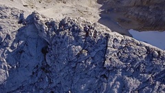 Aerial Footage Of Hiker Climbing Mountain Adventure Extreme Sport Scenic 4K Stock Footage