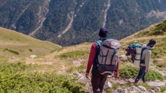 Men With Backpacks Hiking On Mountain Landscape Nature Extreme Sport Healthy Stock Footage