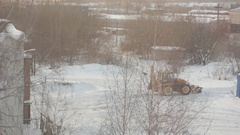 Tractor cleans snow Stock Footage