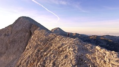 High Angle Shot Of Man Climbing Mountain Hiking Adventure Extreme Sport Stock Footage