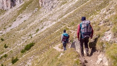 Backpacker Walking On Mountain Trail Adventure Extreme Sport Healthy Lifestyle Stock Footage