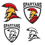 Set of emblems with  Spartan helmet Stock Illustration