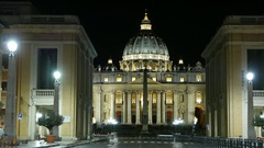 Time Lapse Shot of St Peters Basilica and Vatican by night Stock Footage