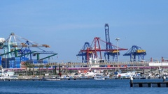 Industrial harbor of Valence Stock Footage