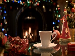 Pouring  hot tea into a cup in a Christmas party Stock Footage