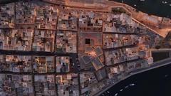 Aerial Drone Footage Of Historic City Malta Travel Mediterranean Sea Harbor Stock Footage